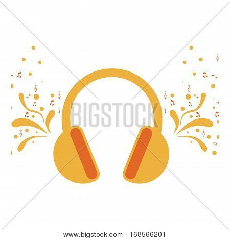 headset stereo sound with swirls and musical notes vector illustration