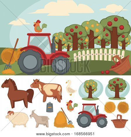 Icons set of farm and farming. Vector farmer symbols: livestock, tractor and hay, fence and fruit garden. Village landscape and animal cartoon illustration: cow, horse, sheep, chicken, goat, goose.