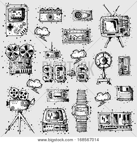 Symbols of media technology in vintage style. Multimedia digital icon set: camera, gamepad and tv, floppy disk and watch, radio, player and cassette. Retro design illustrations. Black and white colors