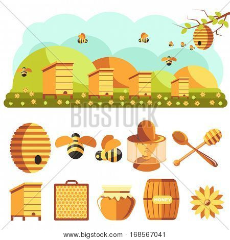 Apiary vector Illustrations. Beekeeping icons set: jar of natural organic sweet honey, bee insect, beeswax, beehive, beekeeper and yellow flower. Isolated on white background. Flat style