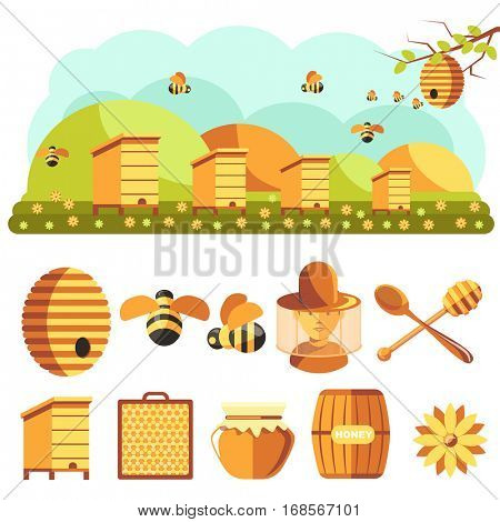 Apiary Illustrations. Beekeeping icons set: jar of natural organic sweet honey, bee insect, beeswax, beehive, beekeeper and yellow flower. Isolated on white background. Flat style