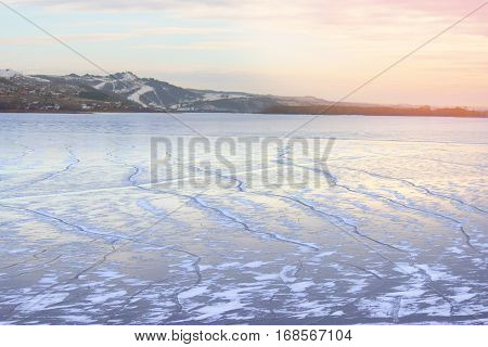 Mountain And Frozen River