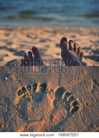 footsteps on beach and foot print. collage