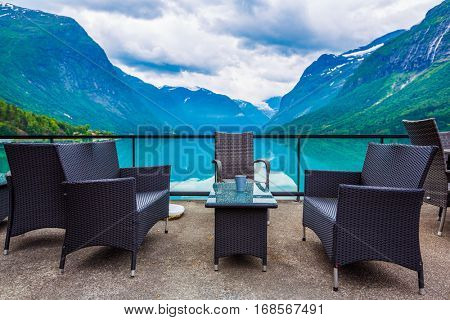 Beautiful Nature Norway natural landscape. Cafe on the nature background lovatnet lake.