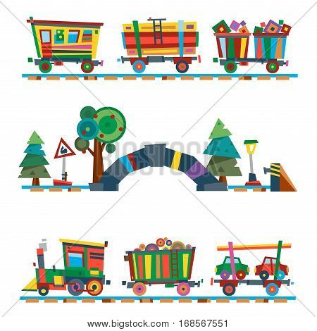 Railroad traffic way and cartoon toy train. Transportation railway design concept with passenger carriage engine station steward flat icon vector illustration.