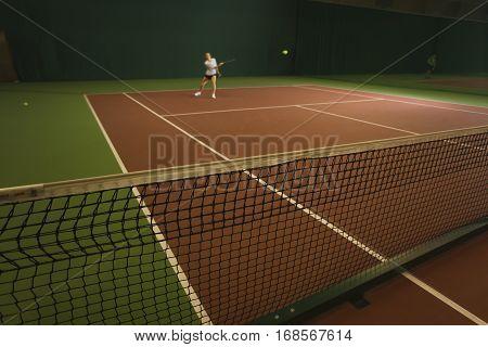 indoor tennis court sport field net ball