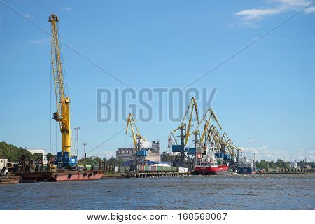 VYBORG, RUSSIA - AUGUST 08, 2016: Water area of the Vyborg cargo port in the August afternoon
