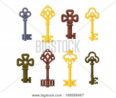 Vintage or antique door keys isolated vector illustration. Access household tool. Retro metal security house protection decorative skeleton. Decorative ornate secret.