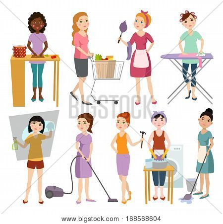 Set of housewifes homemaker woman characters vector illustration isolated