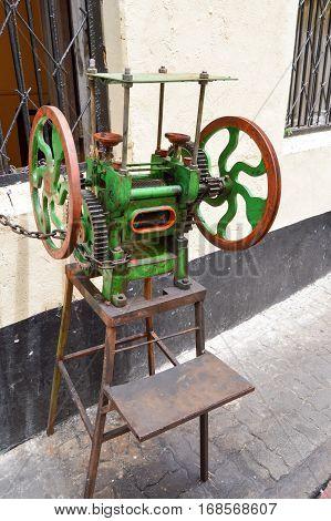 Old sugar cane press in a street in Mombasa Kenya