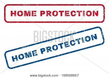 Home Protection text rubber seal stamp watermarks. Vector style is blue and red ink tag inside rounded rectangular banner. Grunge design and dirty texture. Blue and red signs.