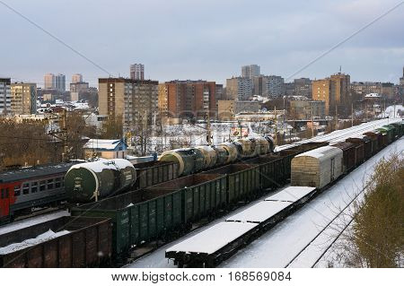 Yekaterinburg, Russia - November 03, 2016: A train on the railway in the city Yekaterinburg winter