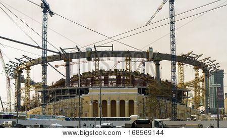 Yekaterinburg, Russia - November 17, 2016: Reconstruction of the central stadium the city of Yekaterinburg in the World Cup in 2018 in Russia