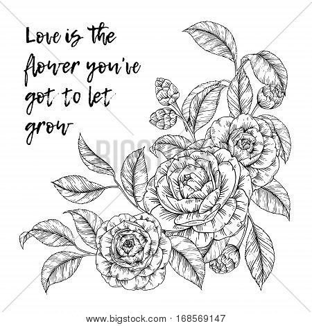 Vector hand drawn bouquet of flowers in retro style. Floral sketch vintage posy background quote for print, t-shirt, fabric, textile, greeting card, label and invitation