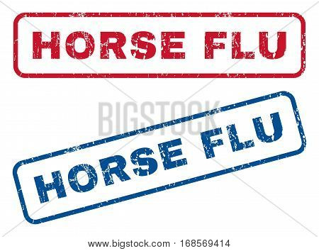 Horse Flu text rubber seal stamp watermarks. Vector style is blue and red ink tag inside rounded rectangular banner. Grunge design and dirty texture. Blue and red signs.