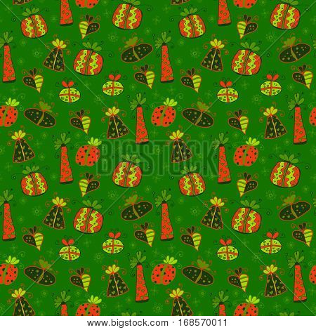Seamless pattern with bright colorful gift boxes and snowflakes on green background