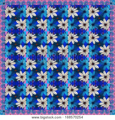 Beautiful bandana print with daisies. Silk neck scarf or kerchief square pattern. Vector image.