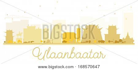 Ulaanbaatar City skyline golden silhouette. Vector illustration. Simple flat concept for tourism presentation, banner, placard or web site. Cityscape with landmarks.