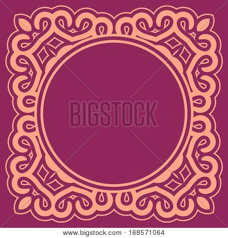 Violet round ornamental background with decorative frame. Retro napkin design in flat and simple style