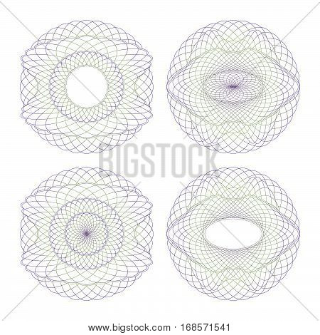 Rosettes Guilloche. Set Decorative Elements on a White Background.