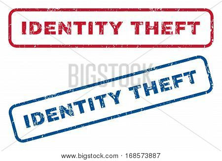 Identity Theft text rubber seal stamp watermarks. Vector style is blue and red ink caption inside rounded rectangular banner. Grunge design and dirty texture. Blue and red emblems.