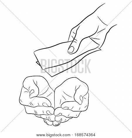 hand giving and taking money banknotes of monochrome vector illustration