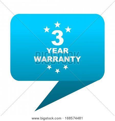 warranty guarantee 3 year blue bubble icon