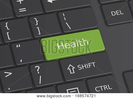 A 3D illustration of the word Health written on a green key from the keyboard