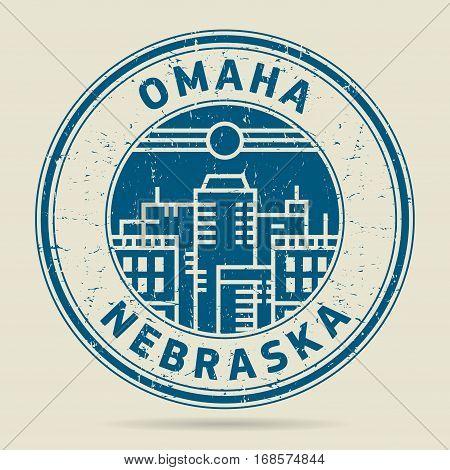Grunge rubber stamp or label with text Omaha Nebraska written inside vector illustration