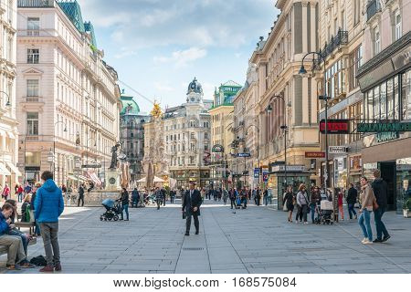 VIENNA, AUSTRIA-April 19, 2016 : Tourists on foot Graben Street in Vienna on April 19, 2016.Vienna is Austria's primary city, with a population of about 1.757 million.