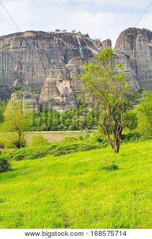 Panoramic view of Meteora monastery on the high rock at spring time, Greece