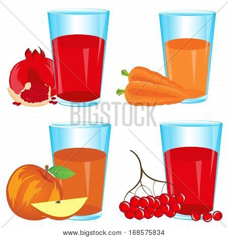 Glasses with drink from fruit and berries on white background