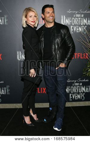 NEW YORK-JAN 11: Kelly Ripa and Mark Consuelos attend the premiere of NETFLIX's Lemony Snicket's