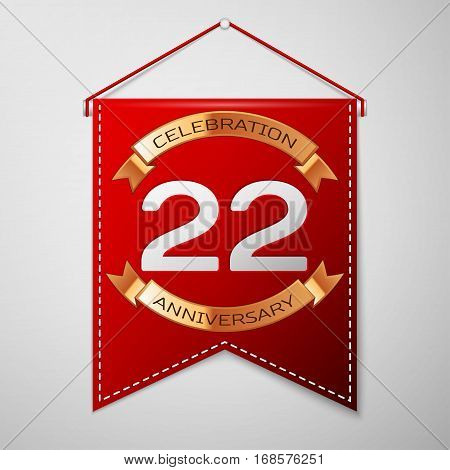 Red pennant with inscription Twenty two Years Anniversary Celebration Design over a grey background. Golden ribbon. Colorful template elements for your birthday party. Vector illustration