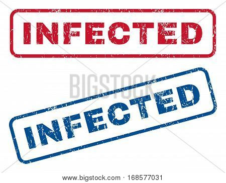 Infected text rubber seal stamp watermarks. Vector style is blue and red ink tag inside rounded rectangular shape. Grunge design and unclean texture. Blue and red signs.