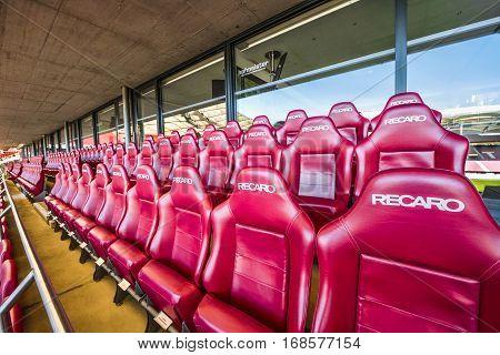 Stuttgart, Germany - September 2016: In the VIP area at Mercedes Benz Arena - the official stadium of FC Stuttgart