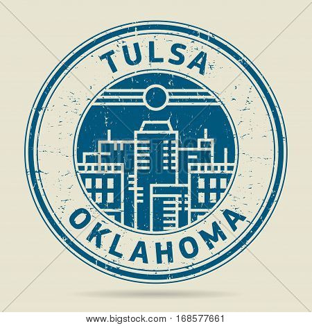 Grunge rubber stamp or label with text Tulsa Oklahoma written inside vector illustration