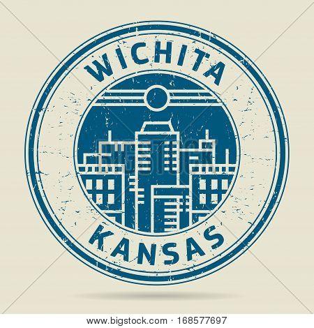 Grunge rubber stamp or label with text Wichita Kansas written inside vector illustration