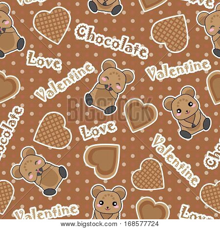 Valentine seamless pattern with cute bear and chocolate love on polka dot background suitable for Valentine's Day wallpaper, scrap paper, and fabric