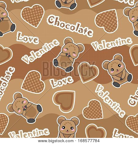 Valentine seamless pattern with cute bear and chocolate love suitable for Valentine's Day wallpaper, scrap paper, and fabric
