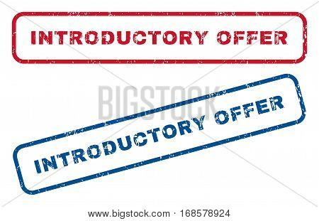 Introductory Offer text rubber seal stamp watermarks. Vector style is blue and red ink tag inside rounded rectangular banner. Grunge design and dust texture. Blue and red stickers.