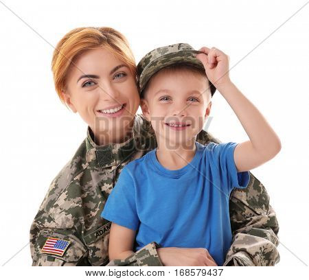 Woman soldier and her son on white background