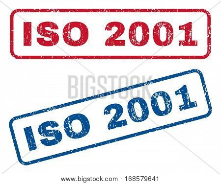 ISO 2001 text rubber seal stamp watermarks. Vector style is blue and red ink caption inside rounded rectangular shape. Grunge design and unclean texture. Blue and red stickers.