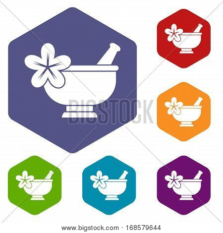 Mortar and pestle pharmacy icons set rhombus in different colors isolated on white background
