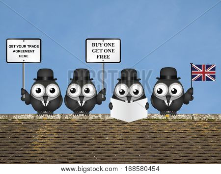 Comical United Kingdom Trade Agreement negotiation delegation following the June 2016 referendum to exit the European Union perched on a rooftop