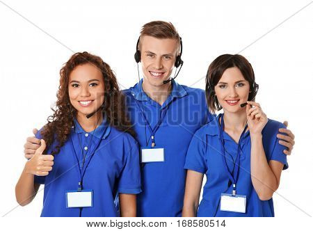 Team of technical support dispatchers on white background