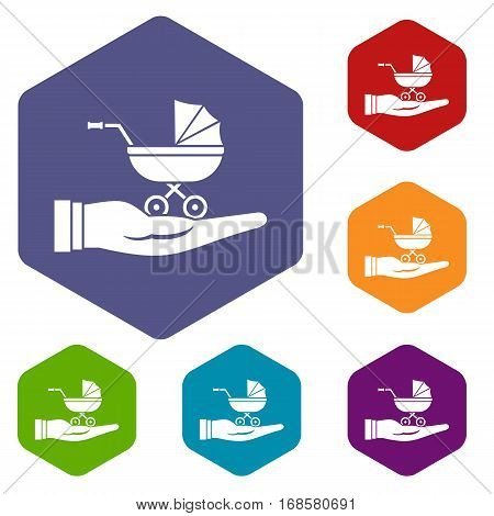 Baby pram protection icons set rhombus in different colors isolated on white background