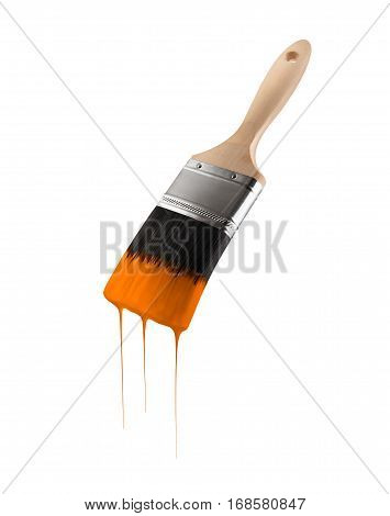 Paintbrush loaded with orange color dripping off the bristles. Isolated on white background.