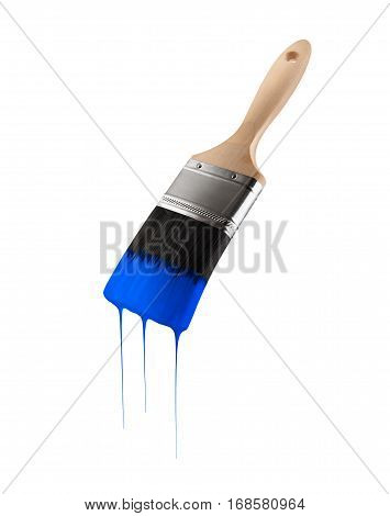 Paintbrush loaded with blue color dripping off the bristles. Isolated on white background.