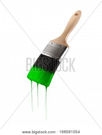Paintbrush loaded with green color dripping off the bristles. Isolated on white background.